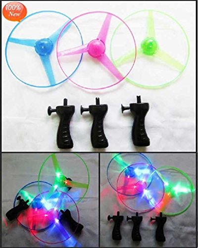 LED Light up Flying Saucer - Light up Flying Disc Glow UFO Saucer - Light up Glow Kids Toy Helicopter ( 3pc set) Disc Launcher