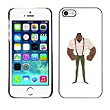 LASTONE PHONE CASE / Slim Protector Hard Shell Cover Case for Apple Iphone 5 / 5S / Muscle Man Black Strong Art Painting Suspenders