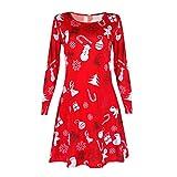 Longay Women's Christmas Print Long Sleeve Shirt Dress Tunic Blouse Tops Mini Club Shirt Dress (Red)