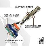 GBS Men's Heavy Duty Handle Chrome Shaving Razor - 5 Blade technology - Stainless Chrome Long Handle with Quality Professional Cartridge Shaving Razor