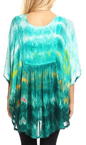 Vert Tie Poncho Sakkas Multicolore Large Blouse Lepha Dye et brod Top Sequin Long xqqwXSZ7