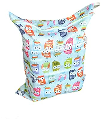 Print Baby Cloth Diaper Waterproof Zippered Wet/Dry Bags, Blue Owls