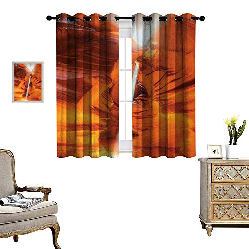Anyangeight Americana Blackout Window Curtain Majestic Scenery Sunbeam Sandstone Antelope Canyon Nature Spirituality Customized Curtains W63 x L72 Orange Yellow - Pearl Pearl Sandstone Antique