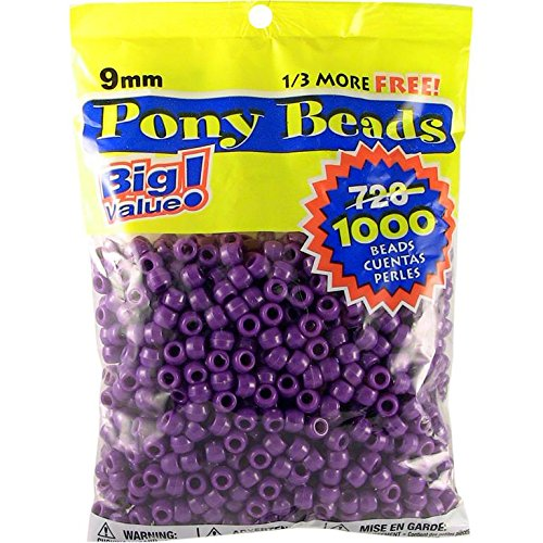 Darice Opaque Purple Pony Beads - Great Craft Projects for All Ages - Bead Jewelry, Ornaments, Key Chains, Hair Beading - Round Plastic Bead With Center Hole, 9mm Diameter, 1,000 Beads Per Bag (Dark Purple Beads)