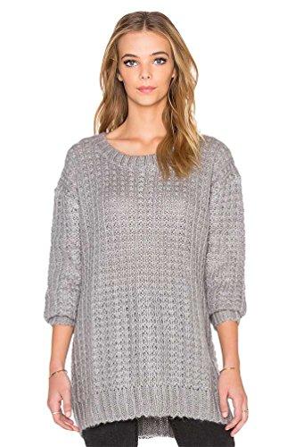 YOUJIA Sencillo Jersey largo de punto Color sólido Pullover Sueter de mujer talla única Gris