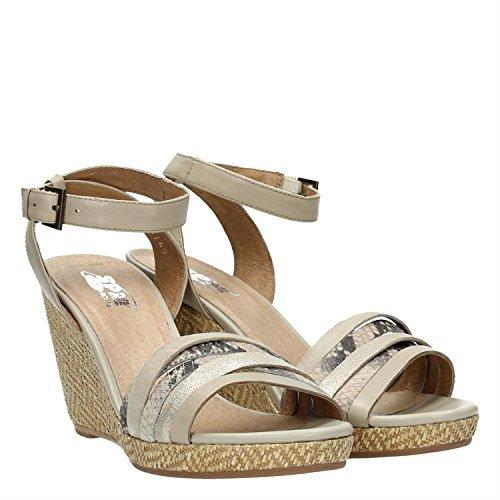 SPM 04485293 sandalias tacón de cuña para mujer en gris plata