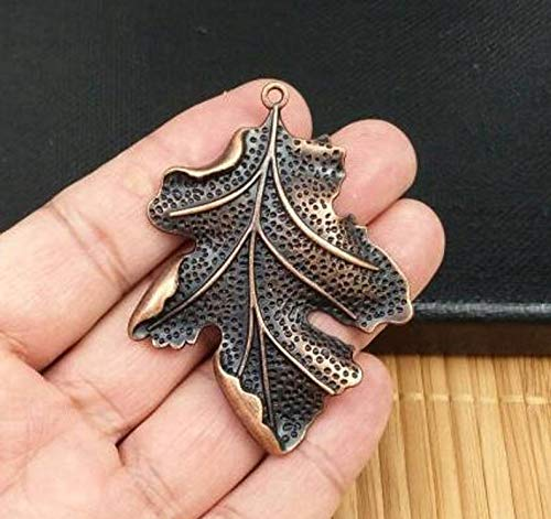 (Design Ideas Big Leaf Copper Pendant Vintage Style Red Copper Leaf Charms Antique Design Earrings Statement Yoga Mala Necklace Bohemian Jewelry Findings)