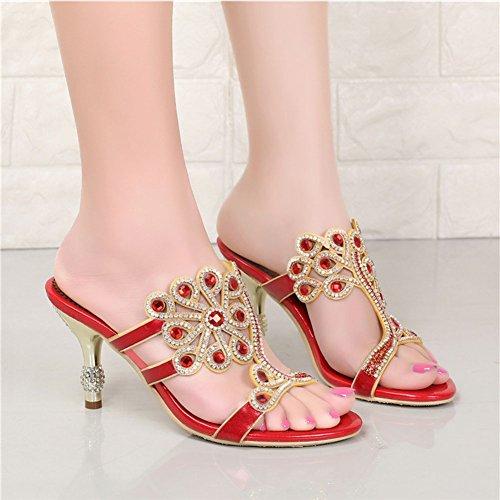 para Redondas de Alto Tacón Red Sandalias Diamantes de de para Imitación Zapatos SASA Alto de de de Zapatos Verano Grado de Imitación de Alto Diamantes Tacón Cadena de Mujer Mujeres 4qIg4AYw