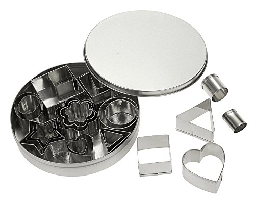 Set - 24 Piece Mini Stainless Steel Biscuit Cutters, Fondant/Sugarpaste Cutters, Various Shapes for Baking, Dessert Design, Molding, Cake Decoration and More, Silver ()