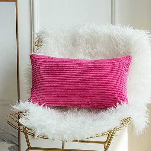 Miulee Corduroy Soft Soild Decorative Square Throw Pillow Covers Cushion Cases PillowCases for Couch Sofa Bedroom Car 12 x 20 Inch 30 x 50 (12x12 Corduroy)