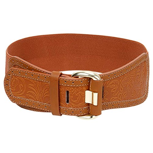 BMC Stamped Etched Ornate Pattern Brown Faux Leather Womens High Waist Elastic Fashion Belt