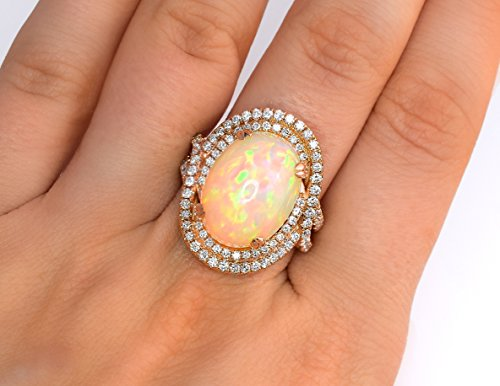 LeVian Couture Ring Red Carpet Huge Neapolitan Opal with Diamonds Statement Cocktail Ring 18K Rose Gold NEW Size 7 ()