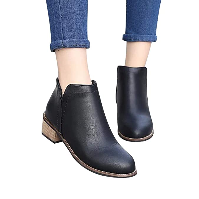 Amazon.com   Sunmoot Faux Leather Ankle Boots Women Fashion Scrub Zipper Pointed Toe Chunky Heels Shoes   Ankle & Bootie