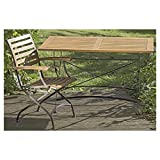 The French Café Bistro Table, Painted Black Frame, Acacia Wood Slats with Honey Stain, Weather Resistant, Iron, Plastic Protective Floor Pads, 49 ¼ L x 29 ½ W x 29 H Inches, By Whole House Worlds