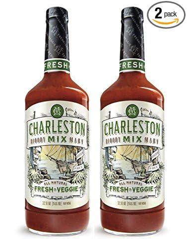 Charleston Mix Premium, All Natural Bloody Mary Mix. Fresh & Veggie, 32oz (2 bottles)