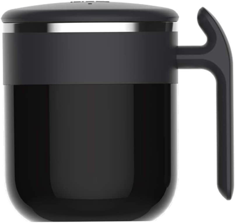 Magnetic stirring mug-Powerless Self Cooling Stirring Thermal Storage Coffee Mug Cup Stainless Steel Automatic Physical Cooling Warming Up Self Mixing Spinning Mixer Cup (Black)