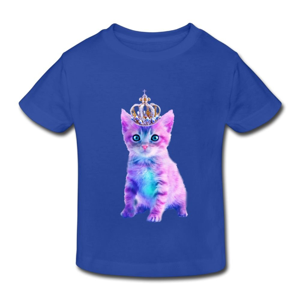 Michgton Cute Crown Cat Girls Summer Crew Classic Tshirts Short Sleeve for 2-6 Years