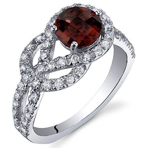 - Gracefully Exquisite 1.00 Carats Garnet Ring in Sterling Silver Rhodium Nickel Finish Size 7
