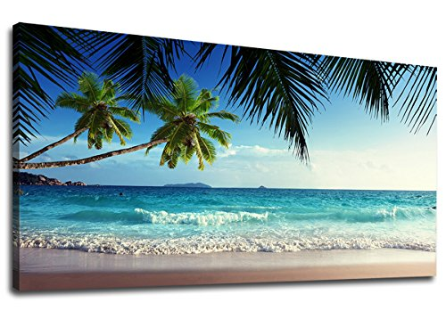 Decor Canvas Artwork - yearainn Canvas Wall Art Summer Ocean Waves Coconut Trees on Sands Beach Panoramic Seascape Scenery Painting - Long Canvas Artwork Sea Contemporary Nature Picture for Home Office Wall Decor 20