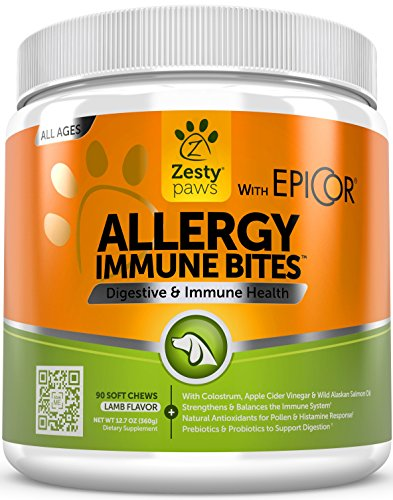 Allergy Immune Soft Chews for Dogs - With EpiCor for Seasonal Allergies & Immune System - Digestive Prebiotics & Probiotics + Wild Alaskan Salmon Fish Oil for Natural Omega 3 Support - 90 (Canine Puppy Milk)