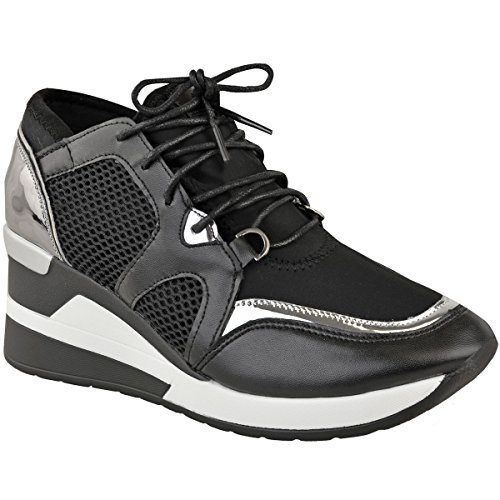 Fashion Thirsty Womens Hi Top Wedge Trainers Gym Fitness Fashion Sport Size Black Faux Leather / Silver