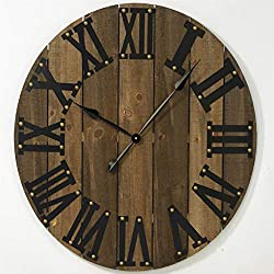 Tripar International 31.5 Large Round Brown Wooden Wall Clock with Roman Numerals