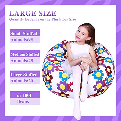 Stuffed Animal Storage Bean Bag Chair Cover for Kids and ...