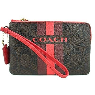 Coach Varsity Corner Zip Brown/True Red Small Wristlet F66052