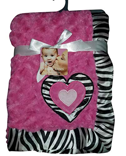 Tender Kisses Wild at Heart Plush Security Blanket with Heart and Zebra Design 3040