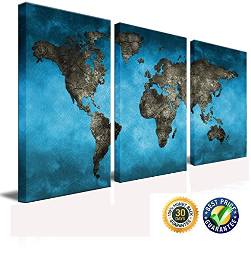 April Art Blue World Map Canvas Printed Wall Art Poster Globe Earth World Geography Painting Hd Picture Print on Canvas Art 3 Panels/Pieces Large Size Frame Canvas Wall Decor