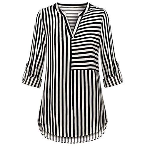 Clearance Sale!Women's Chiffon Blouse Split V Neck Cuffed Sleeve Striped Blouses Shirt Tops ❤️ ZYEE,S-2XL