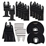 HIFROM Professional Oscillating Multi Tool Quick Release Wood/Metal Saw Blades for Fein Multimaster, Dremel Multi-Max, Dewalt, Craftsman, Ridgid, Makita, Milwaukee, Rockwell, Ryobi and More (16 pcs)