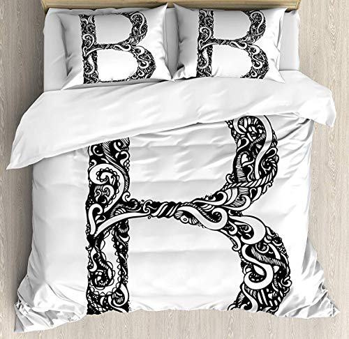 (Bruyu5se Letter B Duvet Cover Set Queen Size - Black and White Abstract Swirls Classic Design Alphabet Uppercase B Symbol Print - Decorative 3 Piece Bedding Set with 2 Pillow Shams - Black White)