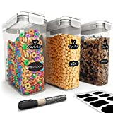 Chef's Path Cereal Storage Container Set - 100% Airtight Best Food Storage Containers, 8 FREE Chalkboard Labels & Pen, Great for Flour, Sugar & More - BPA Free Dispenser Keepers (16.9 Cup 135.2oz) 3PC