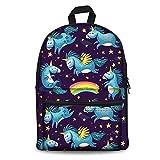 HUGSIDEA Cute Cartoon Girls School Backpack Unihorn Schoolbag for Kids Lightweiht Laptop Daypack