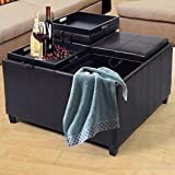 Gomangos Fashion 4-Tray-Top Ottoman Storage Table PU Leather Bench Coffee Fruit Brown New