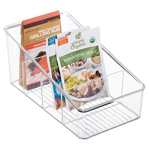 mDesign Plastic Food Packet Organizer Bin Caddy - Storage Station for Kitchen, Pantry, Cabinet, Countertop - Holds Spice Pouches, Dressing Mixes, Hot Chocolate, Tea, Sugar Packets - Clear