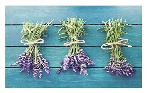 Lunarable Lavender Doormat, Fresh Lavender Bouquets on Blue Wooden Planks Rustic Relaxing Spa, Decorative Polyester Floor Mat with Non-Skid Backing, 30 W X 18 L inches, Sky Blue Lavender Green