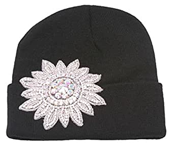 Womens Winter Cuffed Beanie w/Jeweled Floral Crest - Black