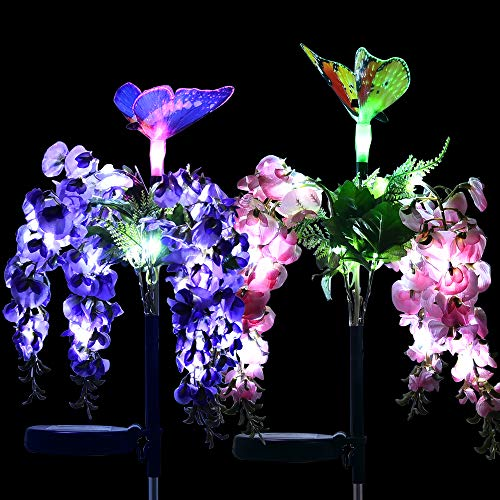 - Solarmks Outdoor Decorative Garden Solar Lights, Solar Powered Flower Lights with Multi-color Changing LED Stake Solar Butterfly Lights for Garden Patio Backyard Path Lawn,2 Packs