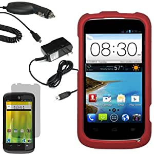 Aimo Wireless Shield Cover Snap On Case for Aio Wireless, AT&T ZTE Radiant Z740, Sonata Z740G + Fitted Screen Protector-Red
