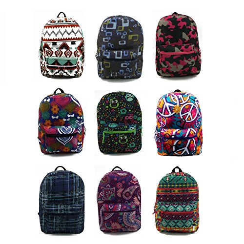 17'' Wholesale Padded Backpacks in Unique Prints - Case of 24 by Arctic Star