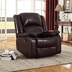 NHI Express Samantha Bonded Leather Recliner, Brown