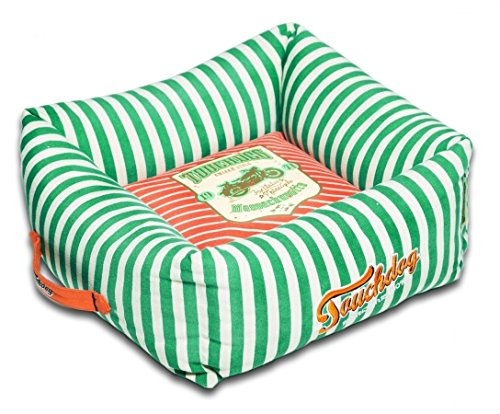 TOUCHDOG 'Neutral-Striped' Ultra-Plush Easy Wash Squared Fashion Designer Pet Dog Bed Lounge, Large, Spearmint Green, Orange For Sale