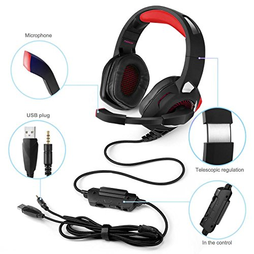 phoinkas h 9 red gaming headset f r ps4 pc xbox one. Black Bedroom Furniture Sets. Home Design Ideas