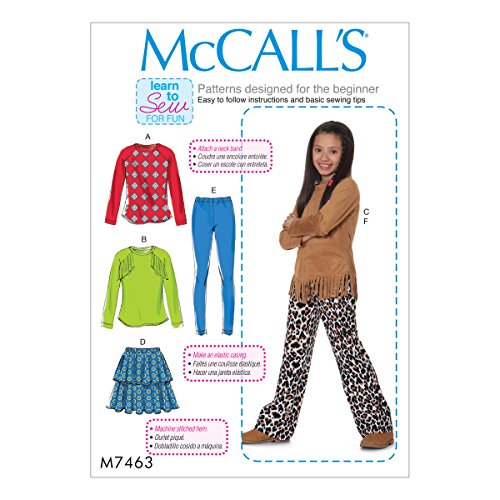 McCall Patterns M7463PLS Girls Plus Raglan Sleeve Tops/Tiered Skirt/Pull-On Leggings and Pants