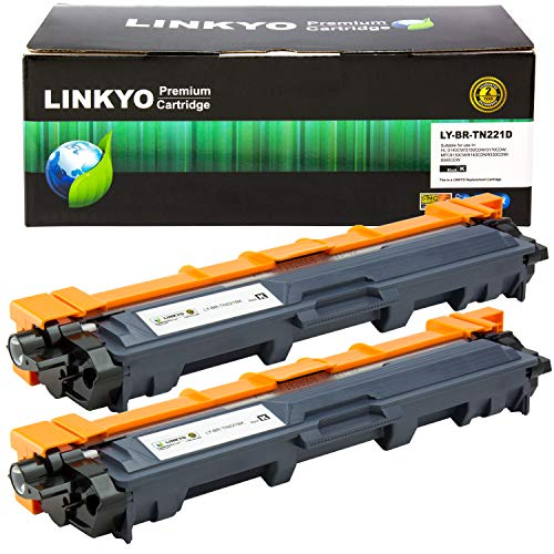 (LINKYO Compatible Toner Cartridge Replacement for Brother TN221BK TN-221BK (Black, High Yield, 2-Pack))
