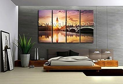 Amazon.com: Huge London Big Ben City River Thames Canvas ...