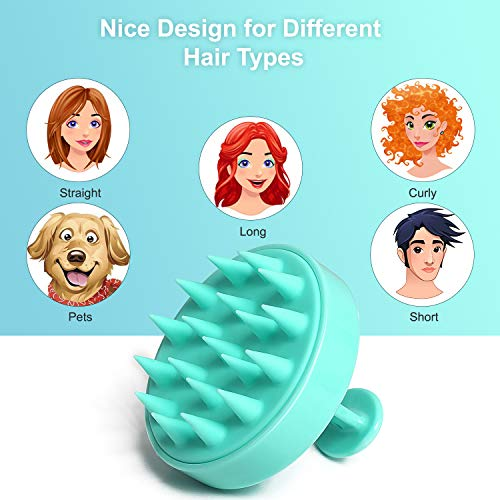 Hair Shampoo Brush Heeta Scalp Care Brush with Soft Silicone Head Massager for Women Men Pets Green