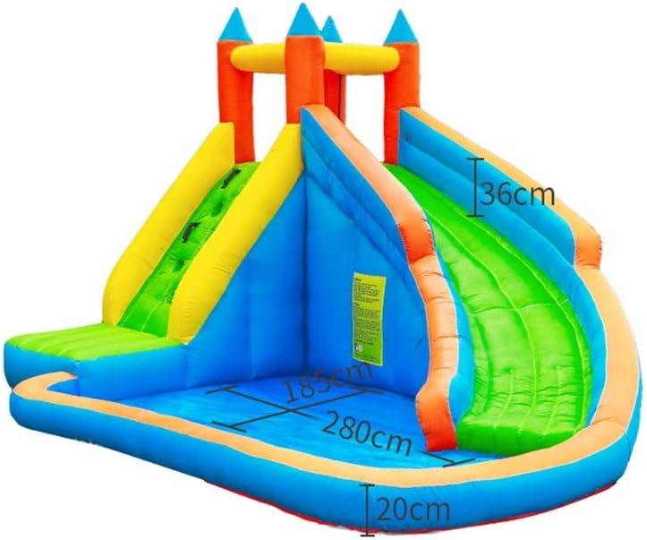 ASDFGG - Piscina hinchable para el parque acuático, con tobogán hinchable para la casa, patrones interiores y exteriores para más diversión, Castillo de bouncy., 225X300X400CM